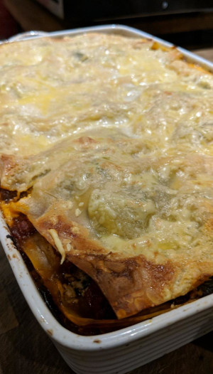 A whole, home-made vegan lasagne, just out of the oven.