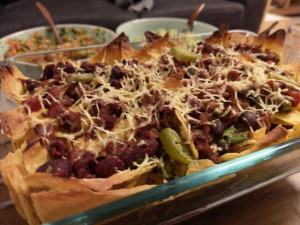 baked nachos, topped with the vegan chilli, some jalapenos and a miserly portion of grated vegan cheese