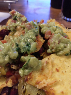 close up of the nachos, salsa and guacamole from previous photos on a small side plate.