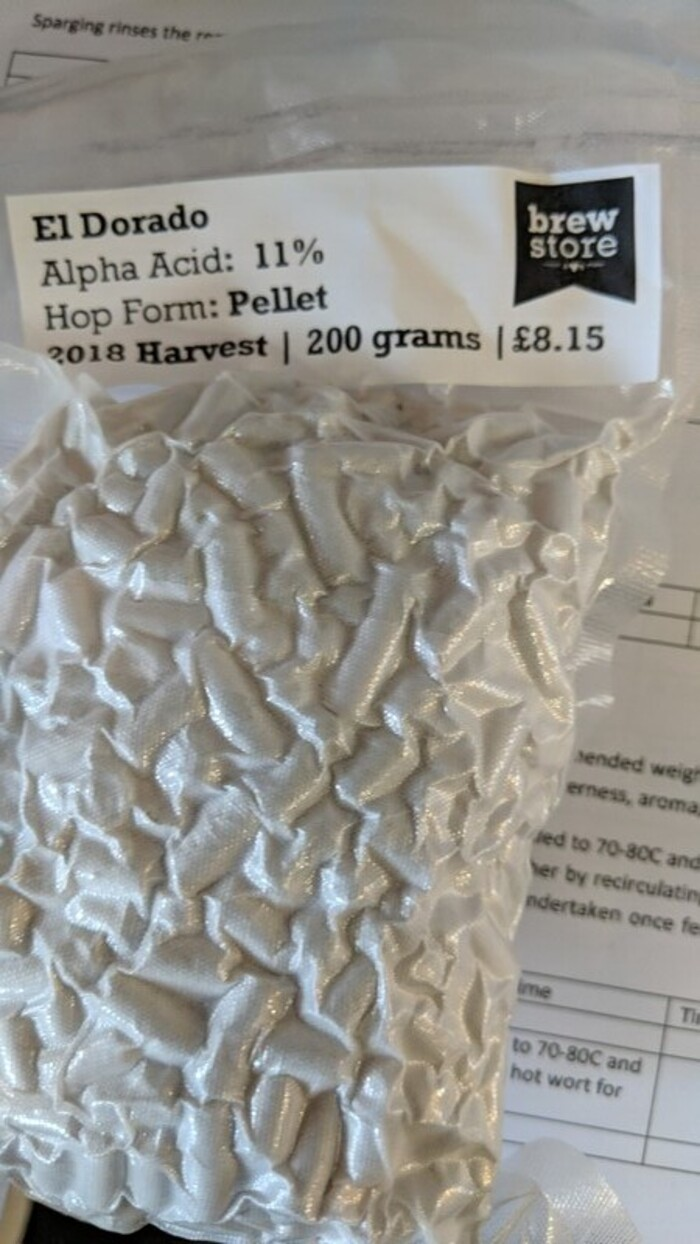 200g Vacuum-packed bag of El Dorado dried hops