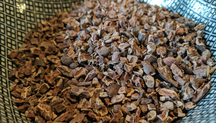 Cocoa nibs in a bowl