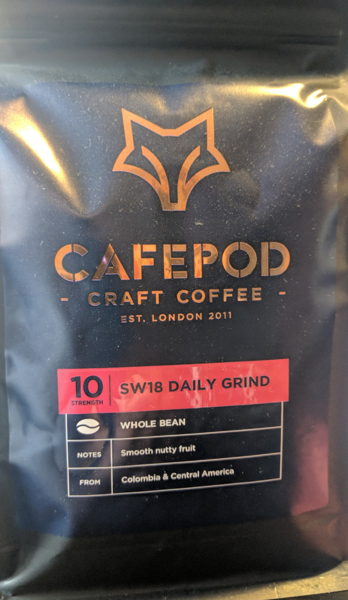 Cafepod SW18 daily grind whole coffee bean label