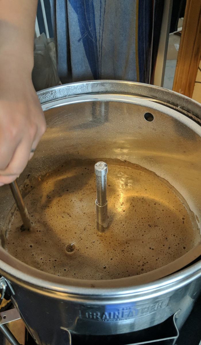 Lovingly stirring the grain during mash in