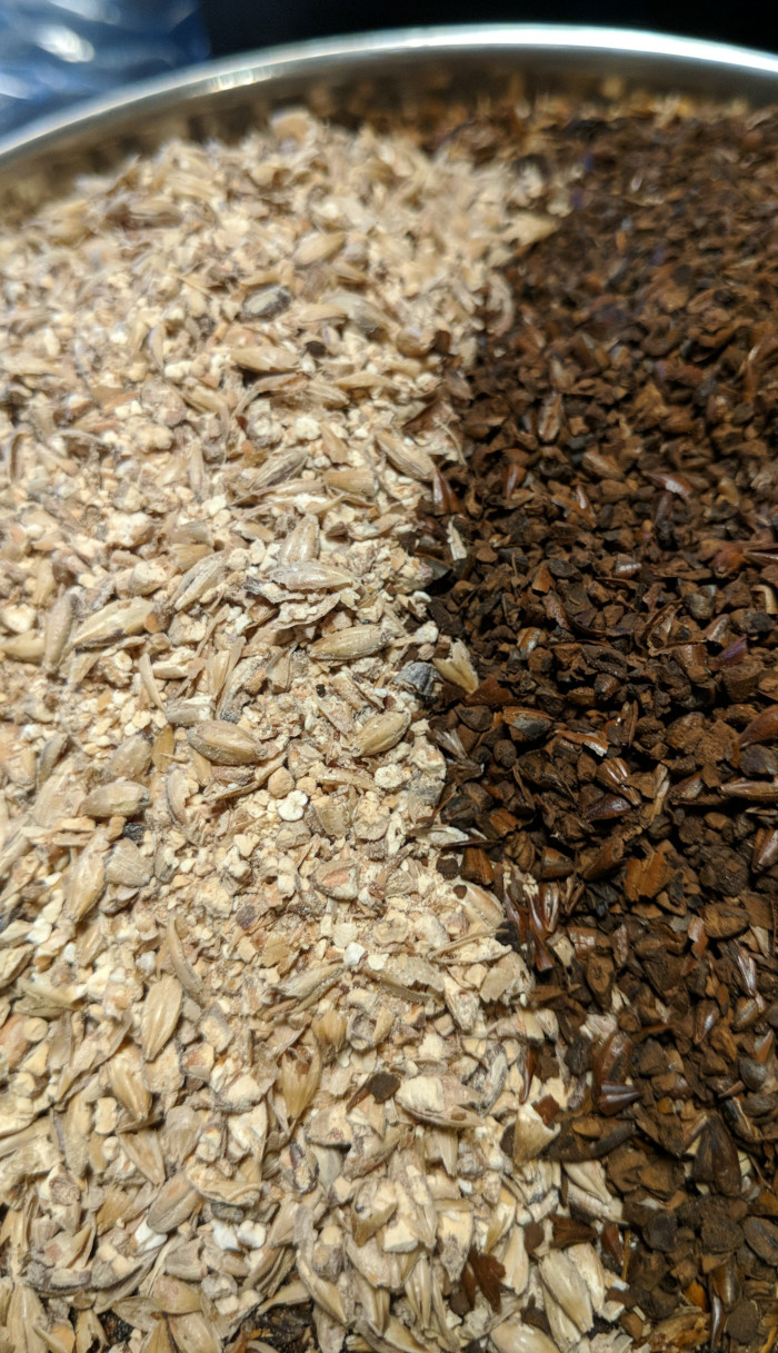 Light and dark crystal malted barley grains side by side, light beige on left, dark brown on right, in stainless steel pot