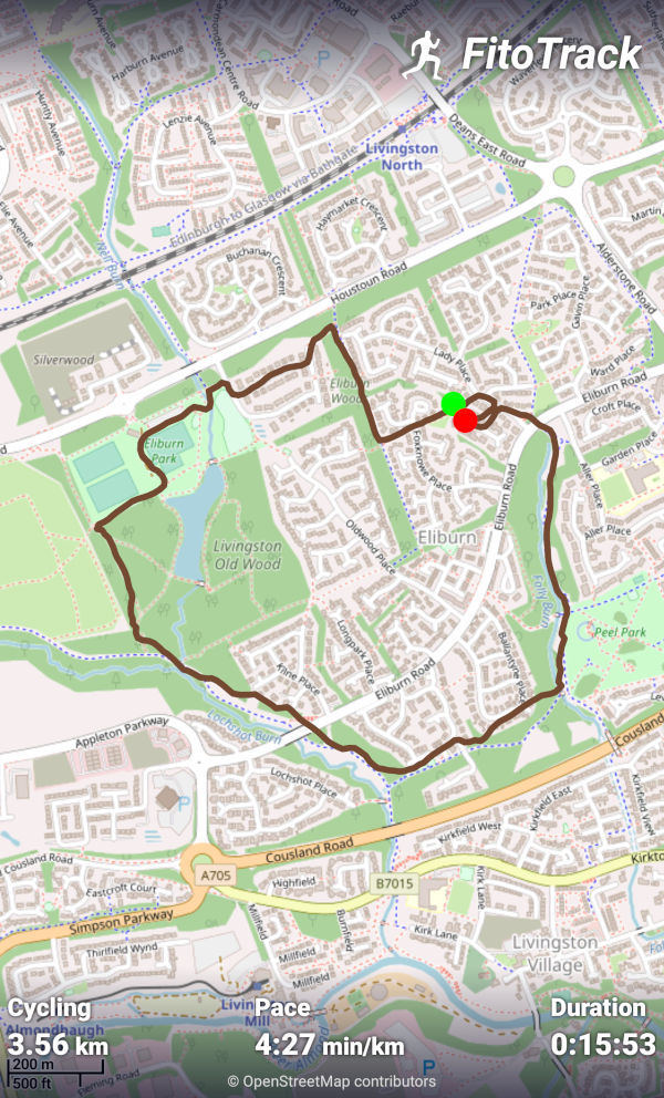 Today's FitoTrack workout summary with the map provided by OpenStreetMap contributors
