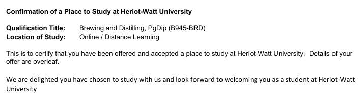 Offer letter from Heriot-Watt University