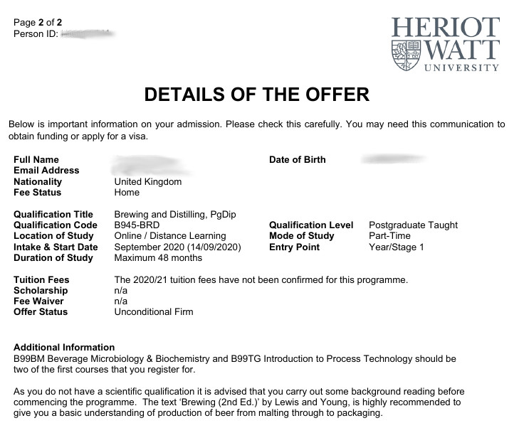 Offer details from Heriot-Watt University