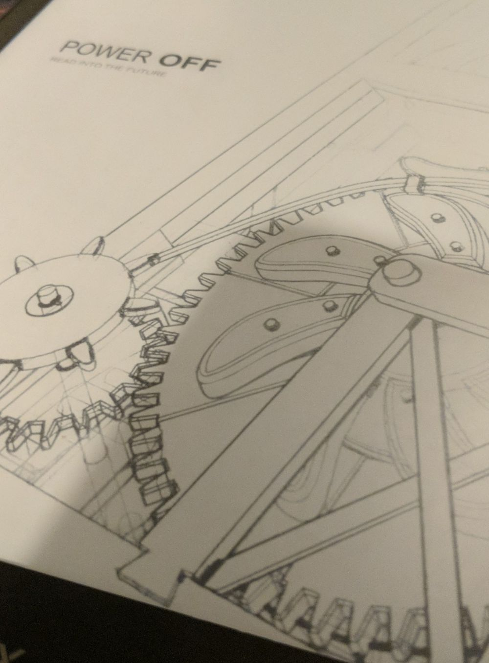 close up of a boox e-reader, in power off mode.