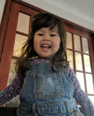 2 year old daughter with wild long hair, wearing a denim dress and smiling wide mouthed